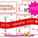 Free Printable Valentine Coupons from The Peaceful Mom 2