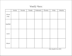 Weekly Menu Horizontal  Menu For The Week Template
