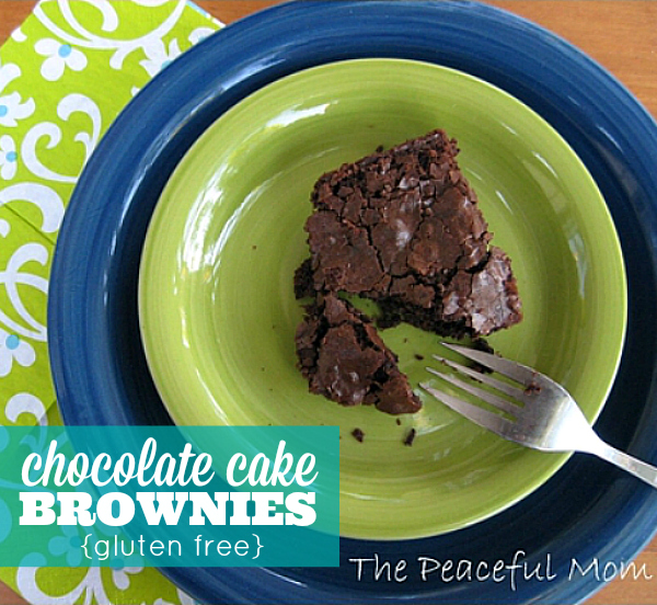 Gluten Free Chocolate Cake Brownies - The Peaceful Mom
