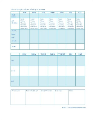 Get Organized! Create a Weekly Plan - The Peaceful Mom