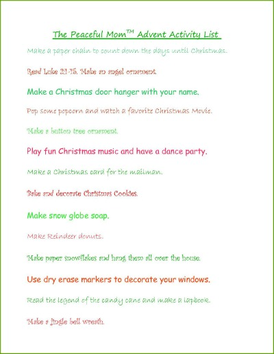 Advent Calendar List Ideas : The peaceful mom