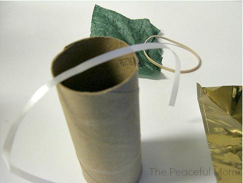 Add ribbon to cardboard tube 1