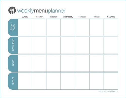 graphic about Weekly Menu Planner Printable known as The Relaxed Mother