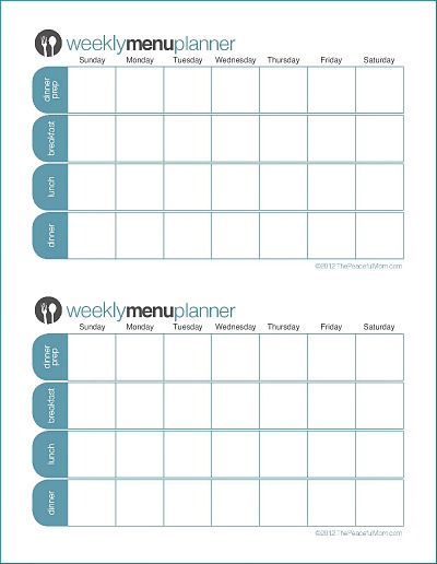 Click To Print Tpm Customizable Two Week Menu Planner  The