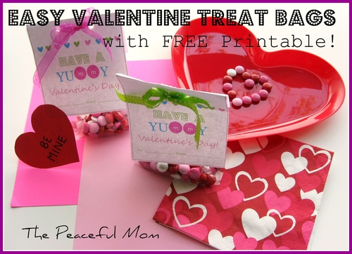 Super Easy Valentine Treat Bags With FREE Printable The