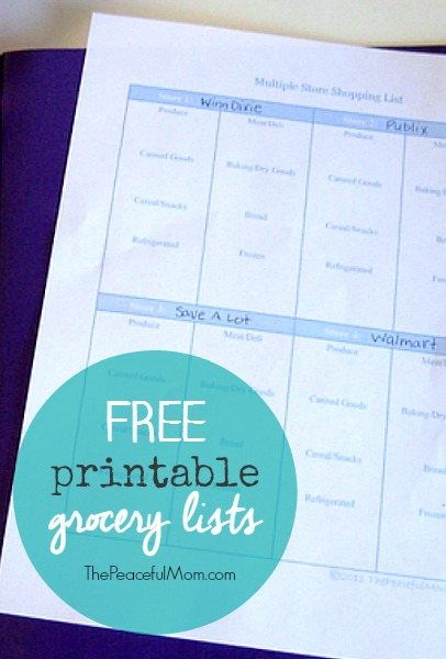 Printable Grocery List  The Peaceful Mom
