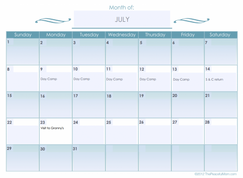 Monthly Calendar (editable) - The Peaceful Mom
