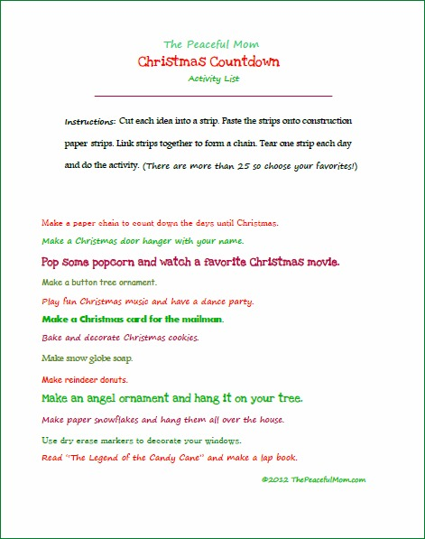 Its Time for the Christmas Countdown free printables  The