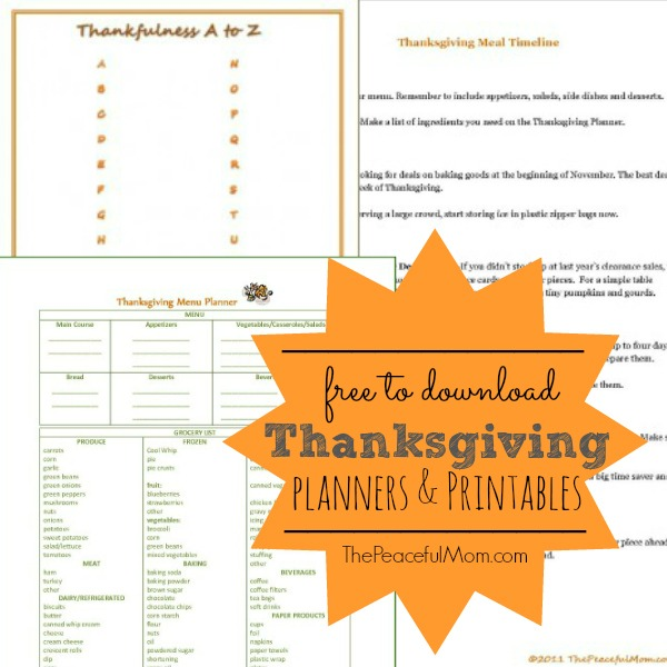 Free Thanksgiving Planning Printables -- The Peaceful Mom
