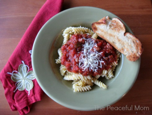 Pasta with Meat Sauce--The Peaceful Mom