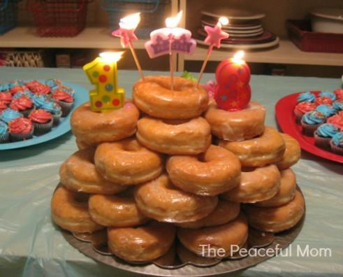 Doughnut Birthday Cake--The Peaceful Mom