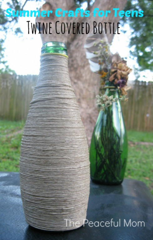 Crafts for Teens-Twine Covered Bottle (1)--The Peaceful Mom