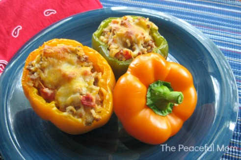 Mexican Stuffed Peppers--The Peaceful Mom.