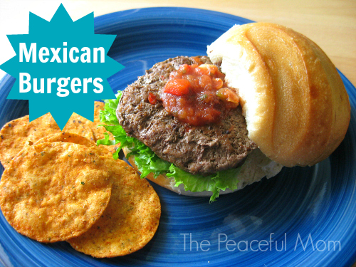 Mexican Burgers Recipe--The Peaceful Mom