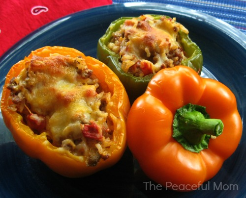 Mexican Stuffed Peppers Recipe--The Peaceful Mom