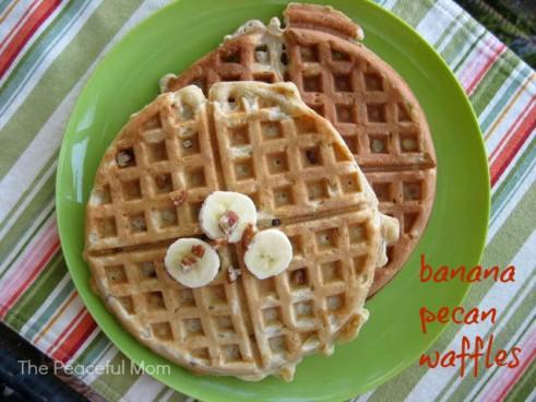 Banana Pecan Waffles Recipe--The Peaceful Mom