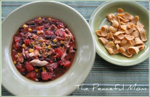 Black Bean Chicken Chili--The Peaceful Mom.