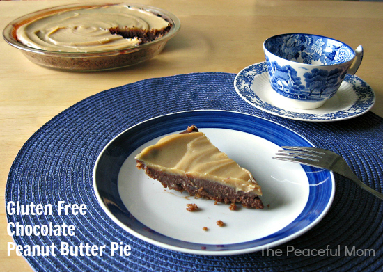 GF Chocolate Peanut Butter Pie Recipe--The Peaceful Mom