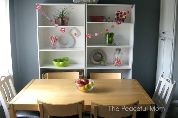 Frugal Christmas Decor - Our Kitchen Shelves 1 - The Peaceful Mom