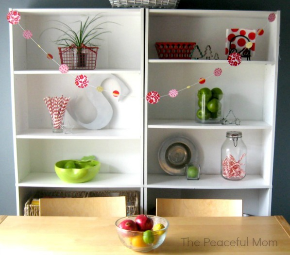 Frugal Christmas Decor - Our Kitchen Shelves 3 - The Peaceful Mom