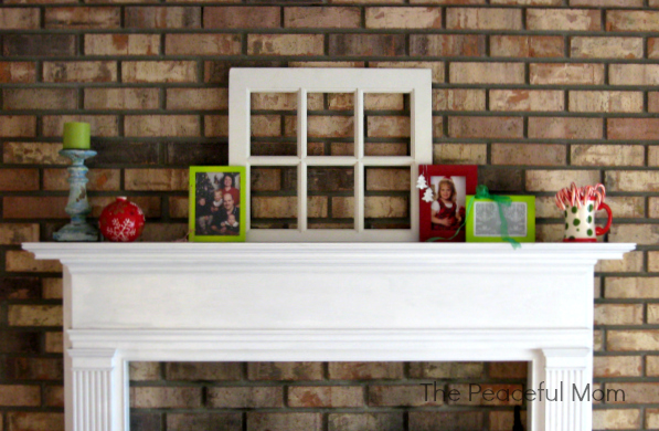 Frugal Christmas Decor - Our Mantle - The Peaceful Mom