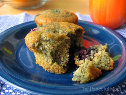 Delish, Moist Blueberry Muffins*