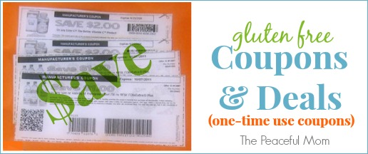 Gluten Free Coupons and Deals - One Time Use Coupons - The Peaceful Mom