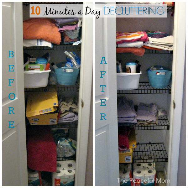 10 Minutes a Day Decluttering - Linen Closet Before and After - The Peaceful Mom