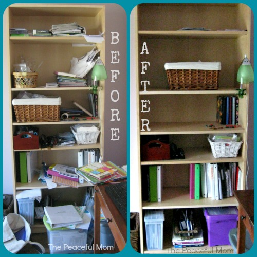 10 Minutes a Day Spring Clean and Organize - Office Shelf - The Peaceful Mom