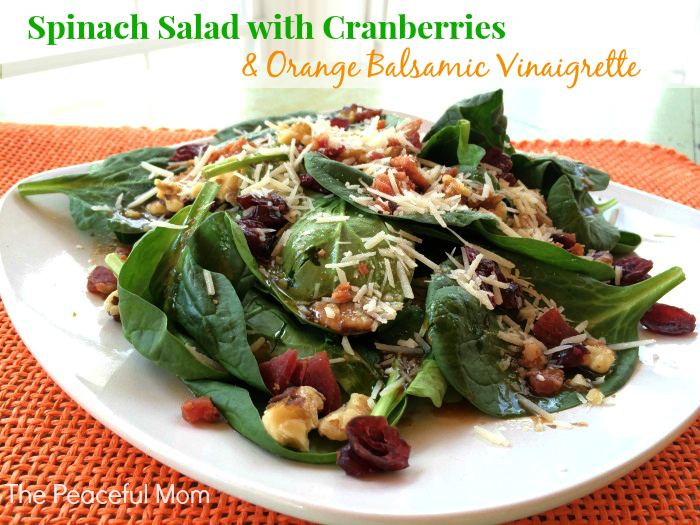 Spinach Salad with Cranberries and Orange Balsamic Vinaigrette 3 - The Peaceful Mom