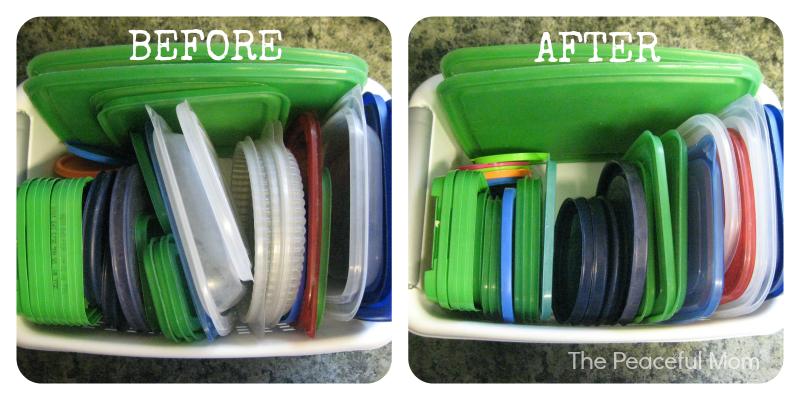 Spring Cleaning Lids Before and After - The Peaceful Mom