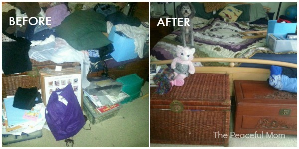 10 Minute Declutter Reader Foot of Bed Before and After - The Peaceful Mom