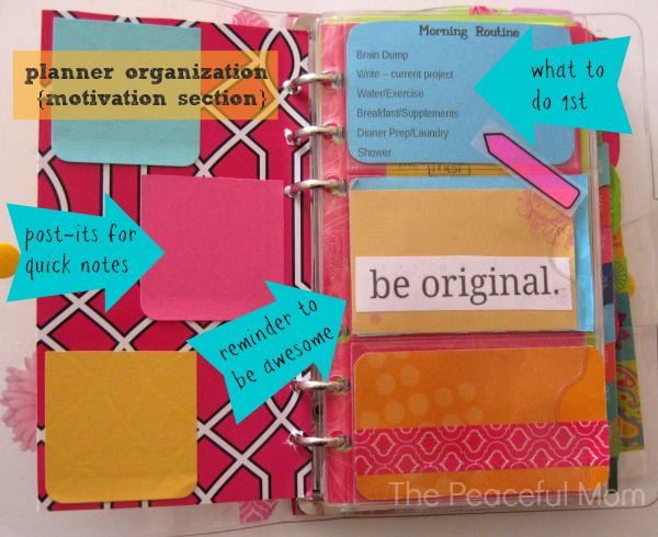 Planner Organization - Motivation Section - The Peaceful Mom