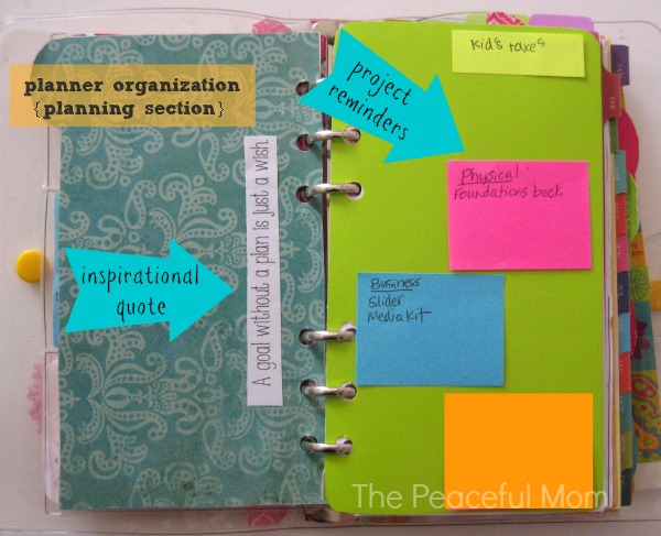 Planner Organization - Planning Section - The Peaceful Mom
