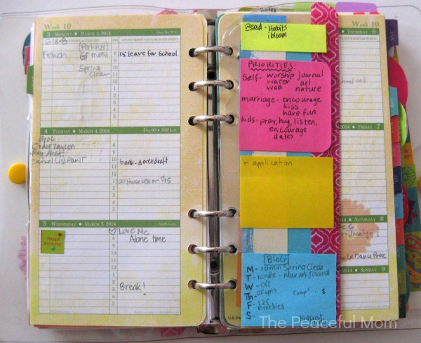 Planner Organization - Weekly Section - The Peaceful Mom
