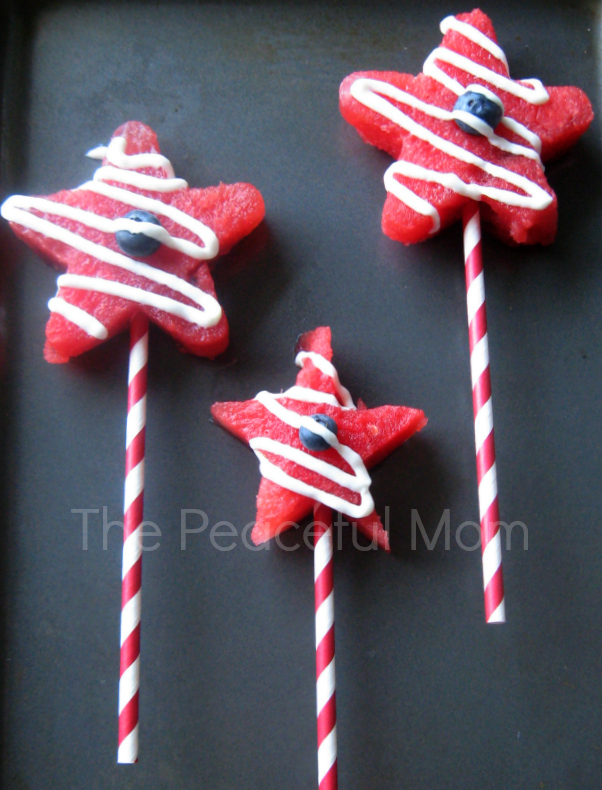 July 4th Party - Watermelon Freezer Pops from The Peaceful Mom