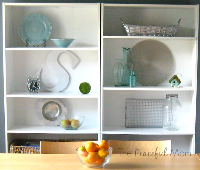 Kitchen Shelf Before - May 2014 - The Peaceful Mom