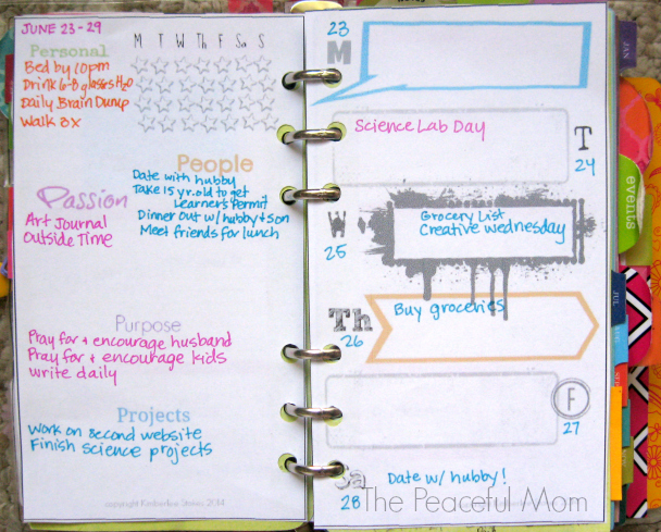 My Weekly Plan 6-23-2014 - The Peaceful Mom