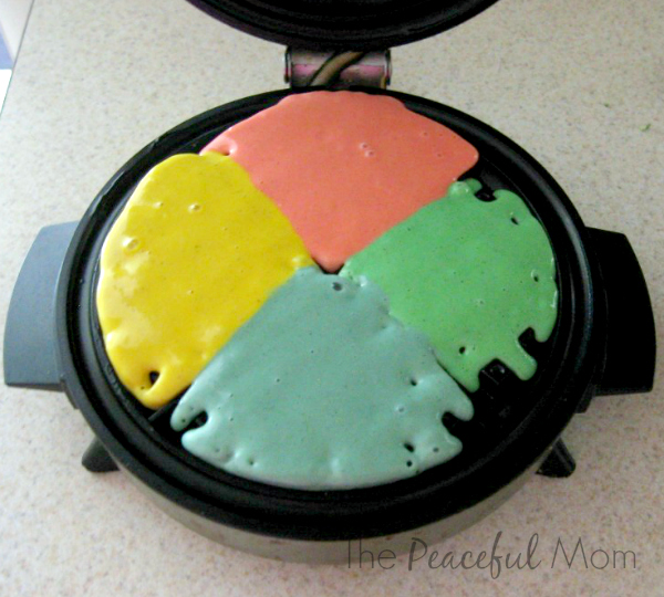 Rainbow Waffles - Place batter in waffle iron - The Peaceful Mom
