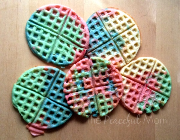 Tie Dye Waffles Finished - The Peaceful Mom