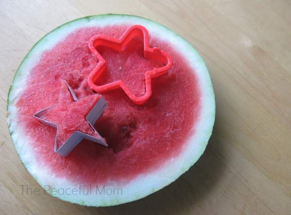 Watermelon Freezer Pops - Cut star shapes - The Peaceful Mom