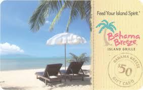 1 11 Bahama Breeze 50 Gift Card