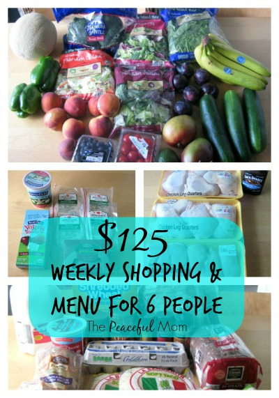Weekly Shopping & Menu to Feed a Family of 6 for 125 Dollars a Week - The Peaceful Mom