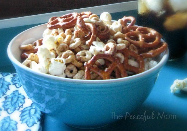 White Cheddar Chipotle Snack Mix Closeup - The Peaceful Mom