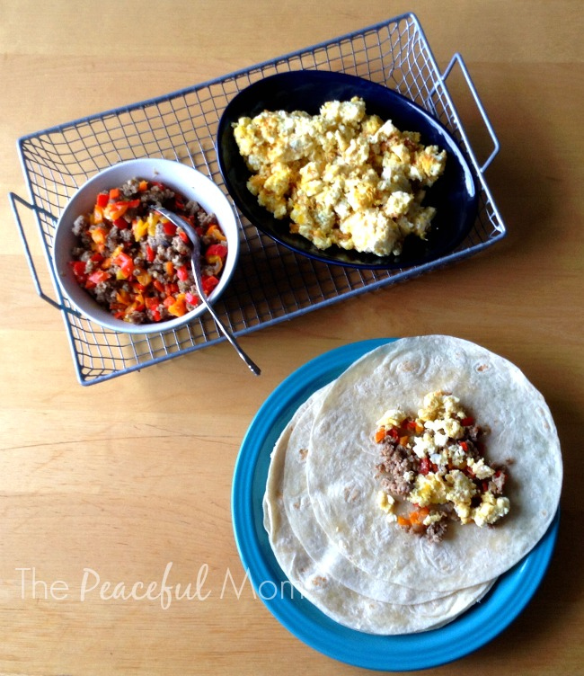 Freezer Breakfast Burritos - Assembly - The Peaceful Mom