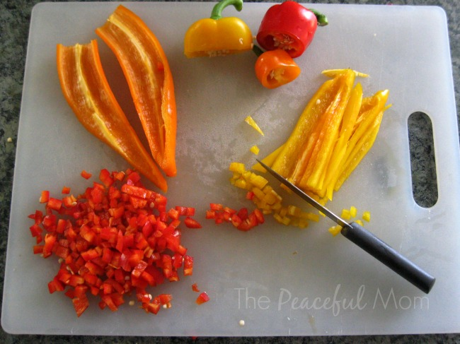 Freezer Breakfast Burritos - chop peppers - The Peaceful Mom