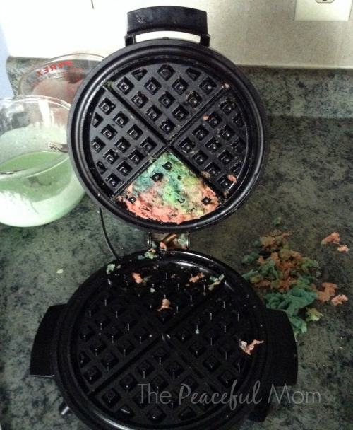 Freezer Cooking Disaster - Tie Dye Waffle Stuck to Waffle Iron - The Peaceful Mom