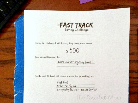 Fast Track Saving Worksheet 1 - The Peaceful Mom