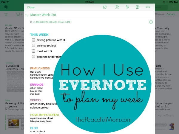 How I use the Evernote app to plan my week - The Peaceful Mom