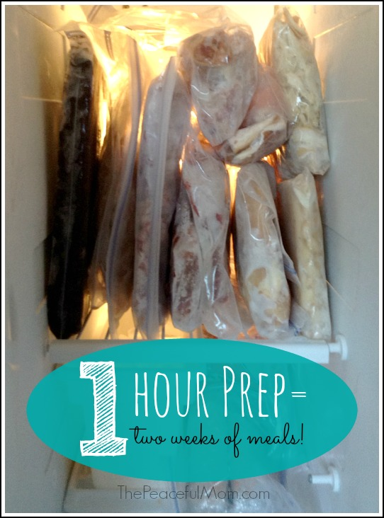 1 Hour in the Kitchen for 2 weeks of Meals - The Peaceful Mom -